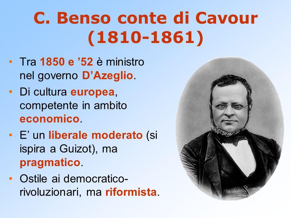 Ascesa di Cavour Cavour riesce a formare una alleanza che unisce centro-destra e centro-sinistra ( connubio con Rattazzi, capo della sinistra moderata).
