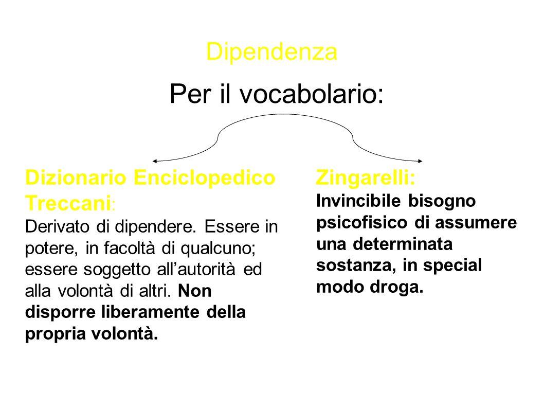 Dipendenza Per il vocabolario: Dizionario Enciclopedico Treccani : Derivato di dipendere. Essere in potere, in facoltà di qualcuno; essere soggetto al