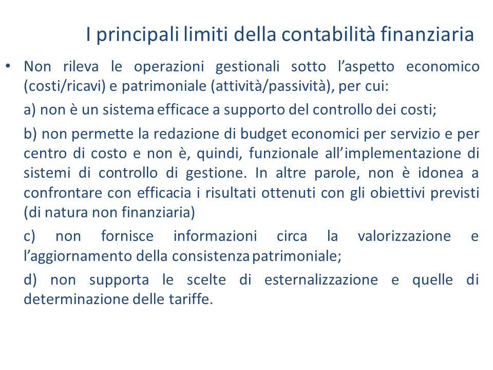 I principali limiti della contabilità finanziaria Non rileva le operazioni gestionali sotto l'aspetto economico (costi/ricavi) e patrimoniale (attivit