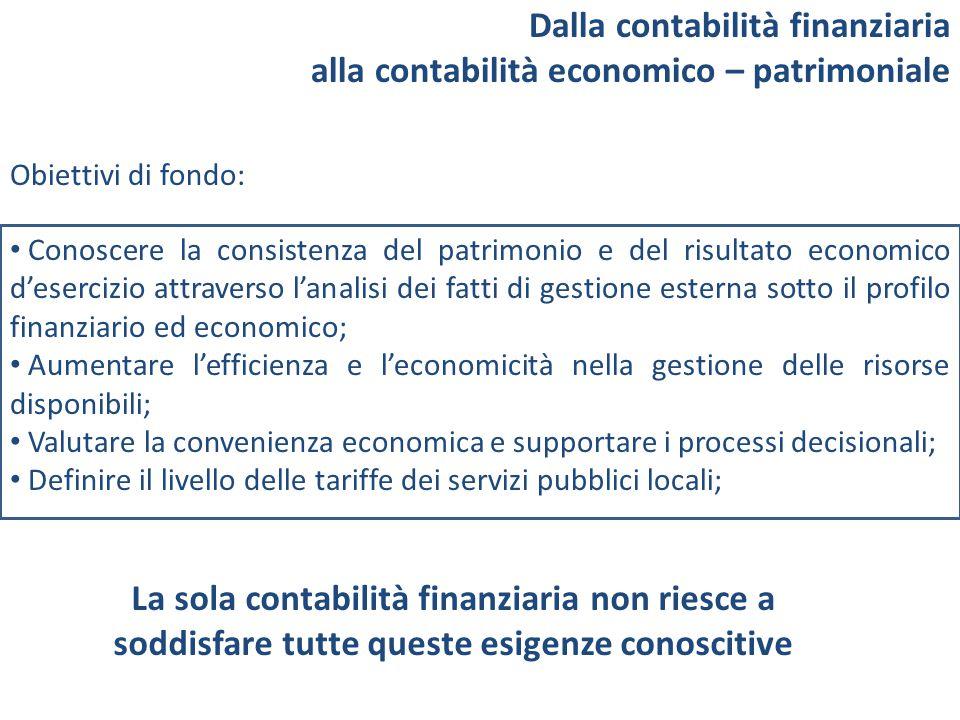Dalla contabilità finanziaria alla contabilità economico – patrimoniale Obiettivi di fondo: Conoscere la consistenza del patrimonio e del risultato ec