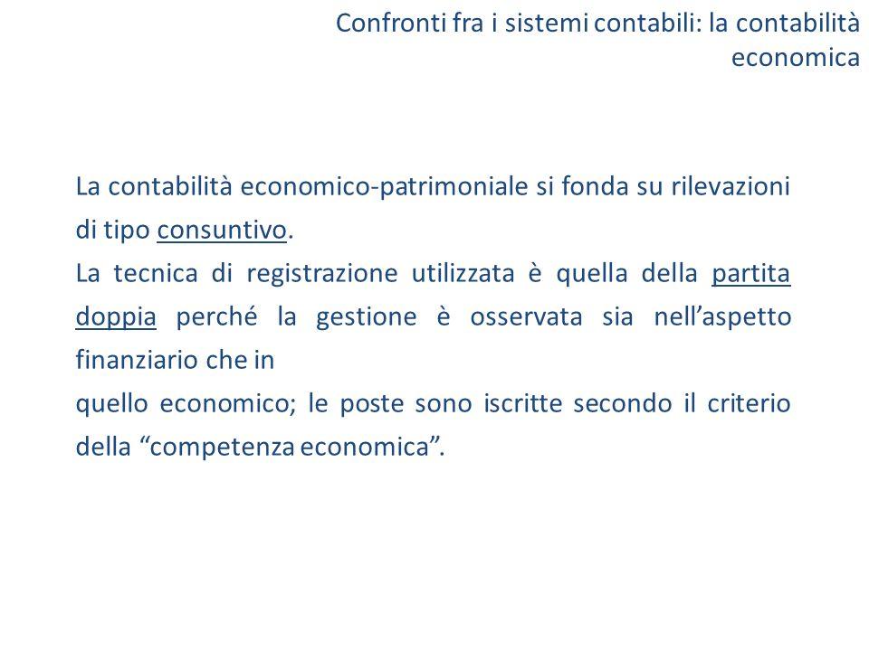 La contabilità economico-patrimoniale si fonda su rilevazioni di tipo consuntivo. La tecnica di registrazione utilizzata è quella della partita doppia