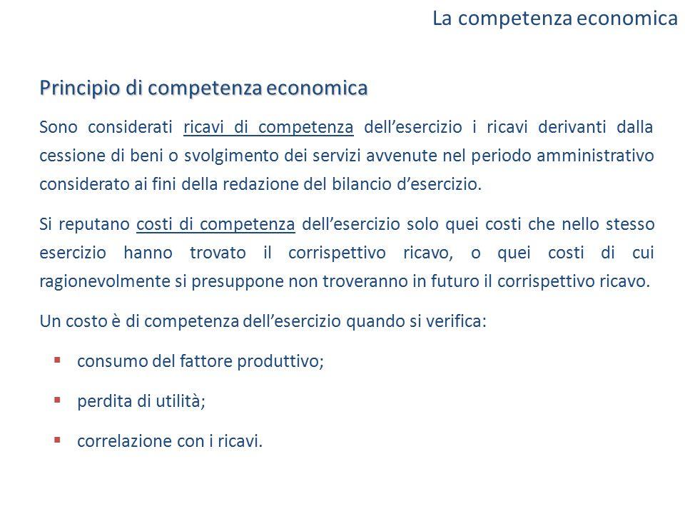 Principio di competenza economica Sono considerati ricavi di competenza dell'esercizio i ricavi derivanti dalla cessione di beni o svolgimento dei ser