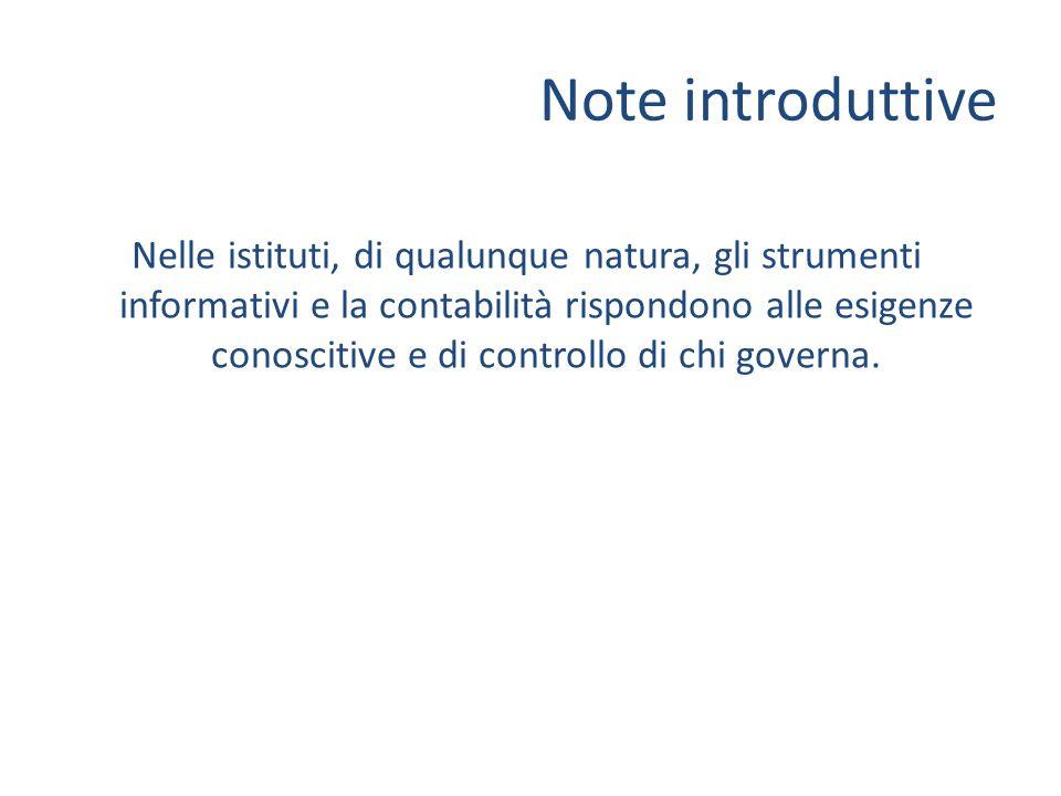 Note introduttive Nelle istituti, di qualunque natura, gli strumenti informativi e la contabilità rispondono alle esigenze conoscitive e di controllo di chi governa.