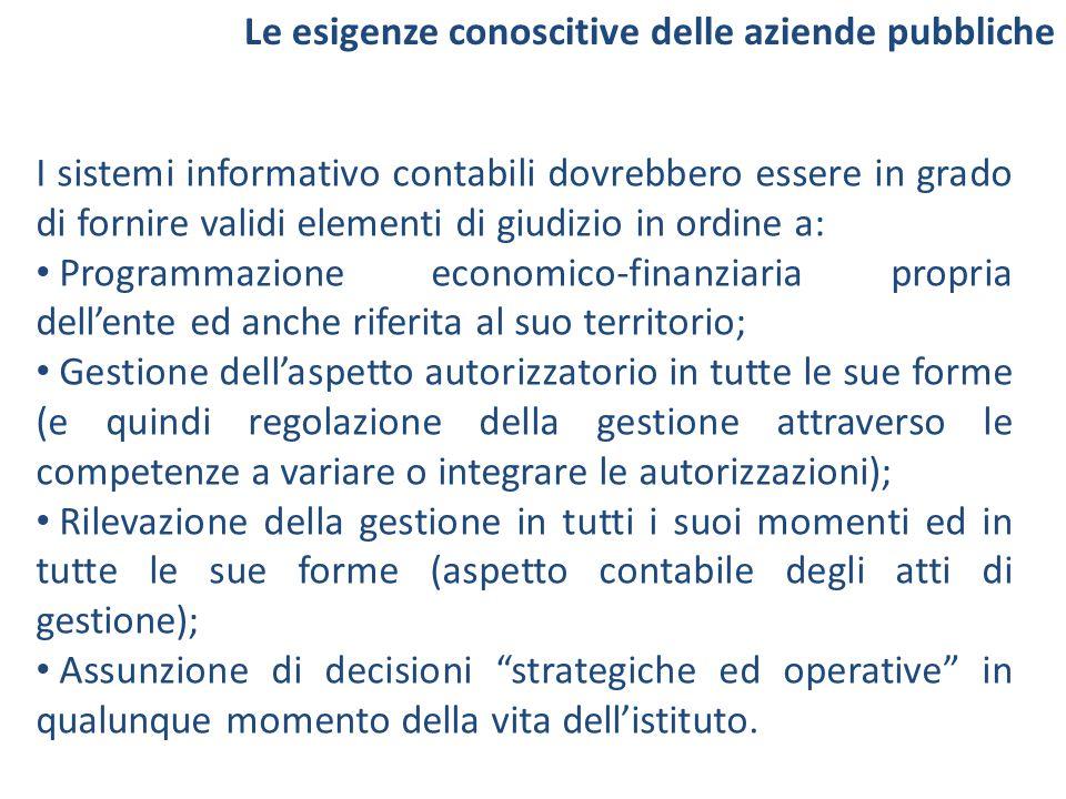 I sistemi informativo contabili dovrebbero essere in grado di fornire validi elementi di giudizio in ordine a: Programmazione economico-finanziaria pr