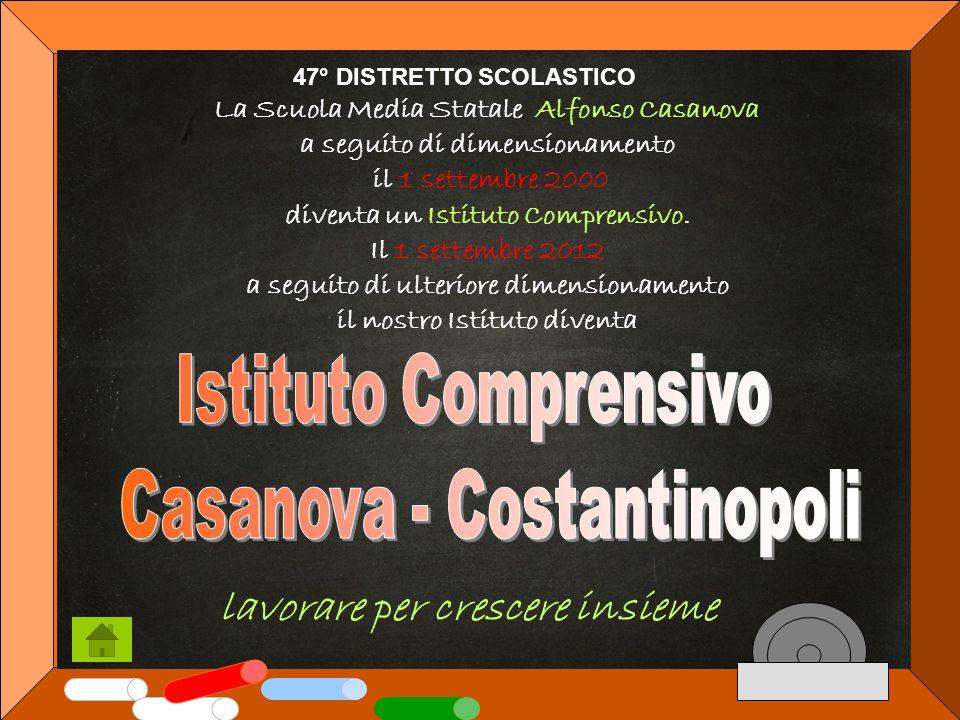 lavorare per crescere insieme 47° DISTRETTO SCOLASTICO La Scuola Media Statale Alfonso Casanova a seguito di dimensionamento il 1 settembre 2000 diventa un Istituto Comprensivo.