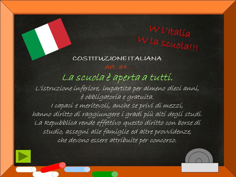 COSTITUZIONE ITALIANA Art.34. La scuola è aperta a tutti.