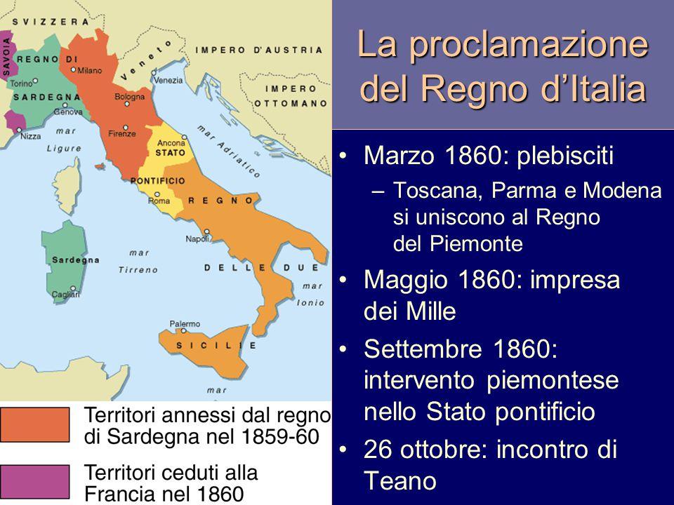 La proclamazione del Regno d'Italia Marzo 1860: plebisciti –Toscana, Parma e Modena si uniscono al Regno del Piemonte Maggio 1860: impresa dei Mille S