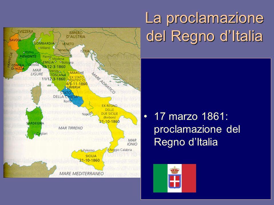 La proclamazione del Regno d'Italia 17 marzo 1861: proclamazione del Regno d'Italia