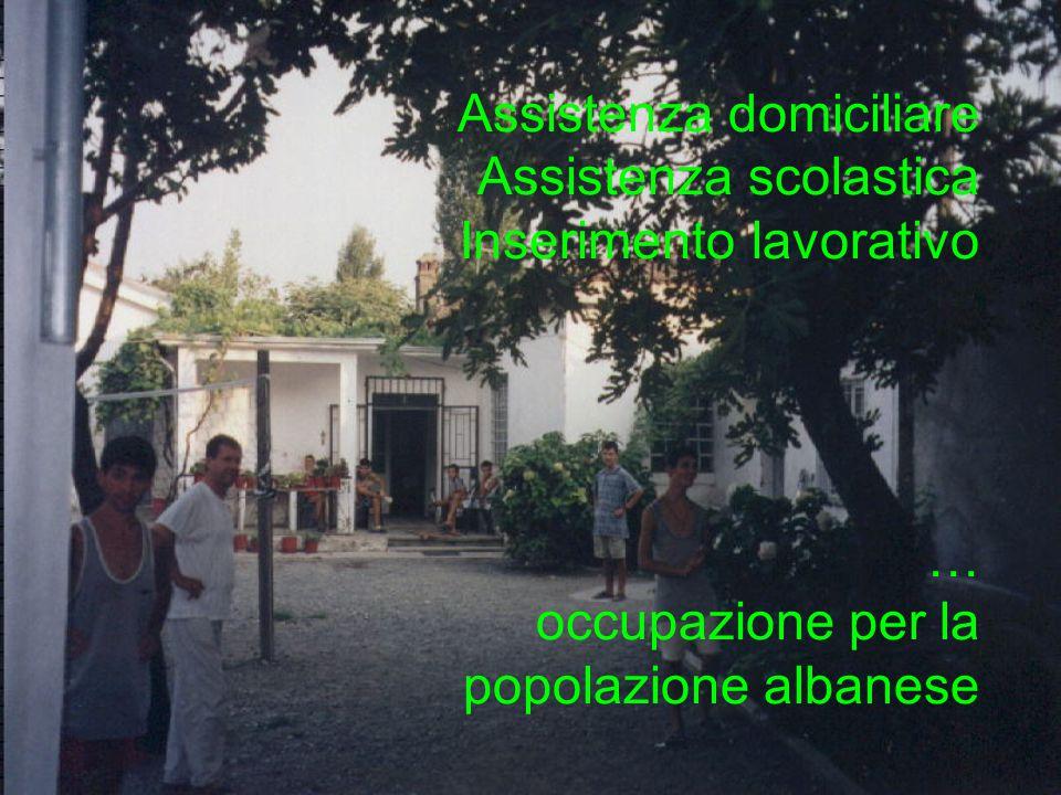 Assistenza domiciliare Assistenza scolastica Inserimento lavorativo … occupazione per la popolazione albanese