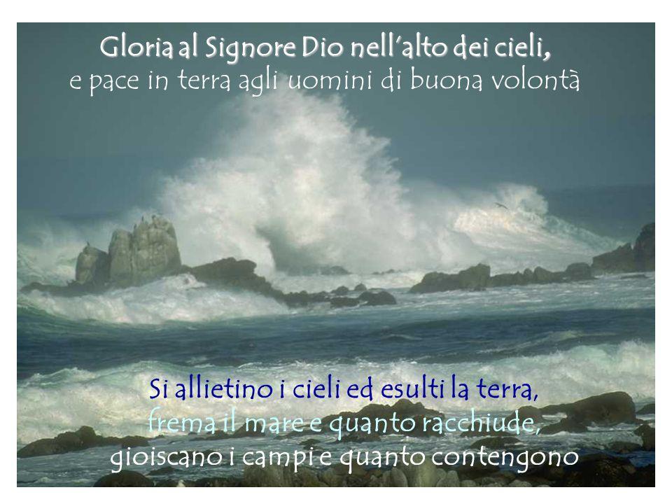 Gloria al Signore Dio nell'alto dei cieli, e pace in terra agli uomini di buona volontà Si allietino i cieli ed esulti la terra, frema il mare e quant