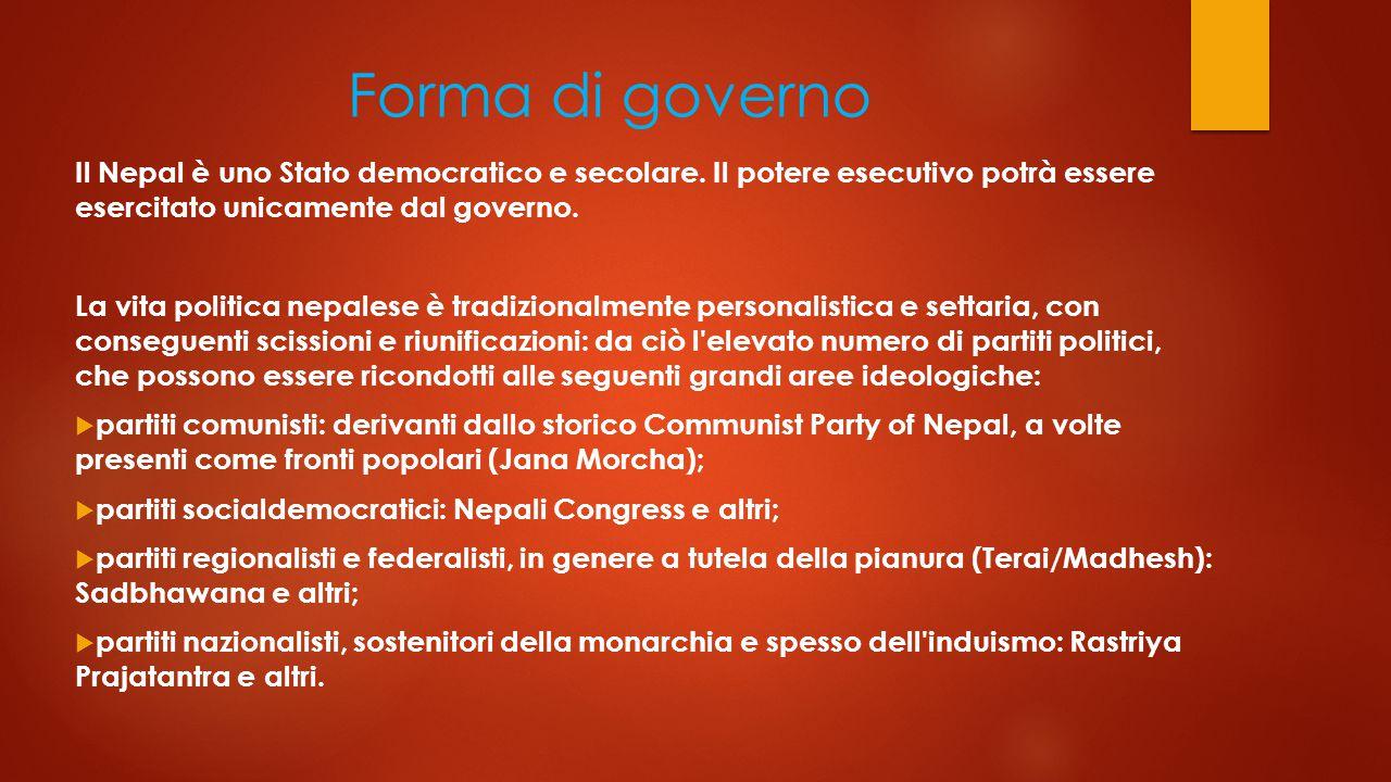 Forma di governo Il Nepal è uno Stato democratico e secolare.