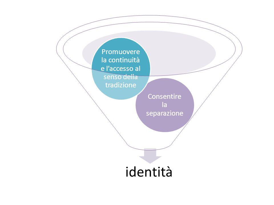 identità Consentire la separazione Promuovere la continuità e l'accesso al senso della tradizione