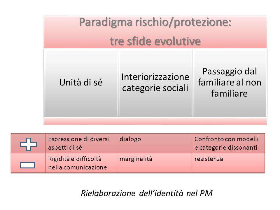 Paradigma rischio/protezione: tre sfide evolutive Unità di sé Interiorizzazione categorie sociali Passaggio dal familiare al non familiare Rielaborazione dell'identità nel PM