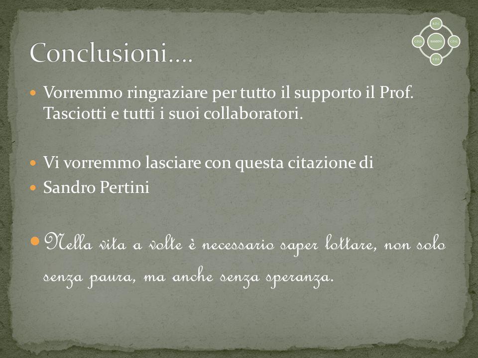 Vorremmo ringraziare per tutto il supporto il Prof. Tasciotti e tutti i suoi collaboratori. Vi vorremmo lasciare con questa citazione di Sandro Pertin
