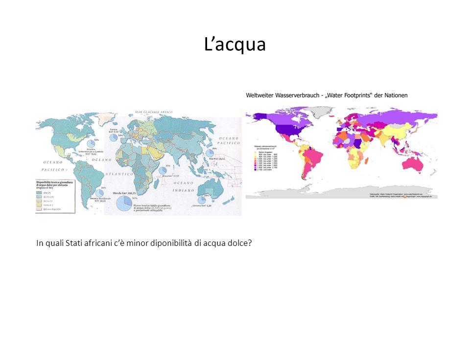 L'acqua In quali Stati africani c'è minor diponibilità di acqua dolce