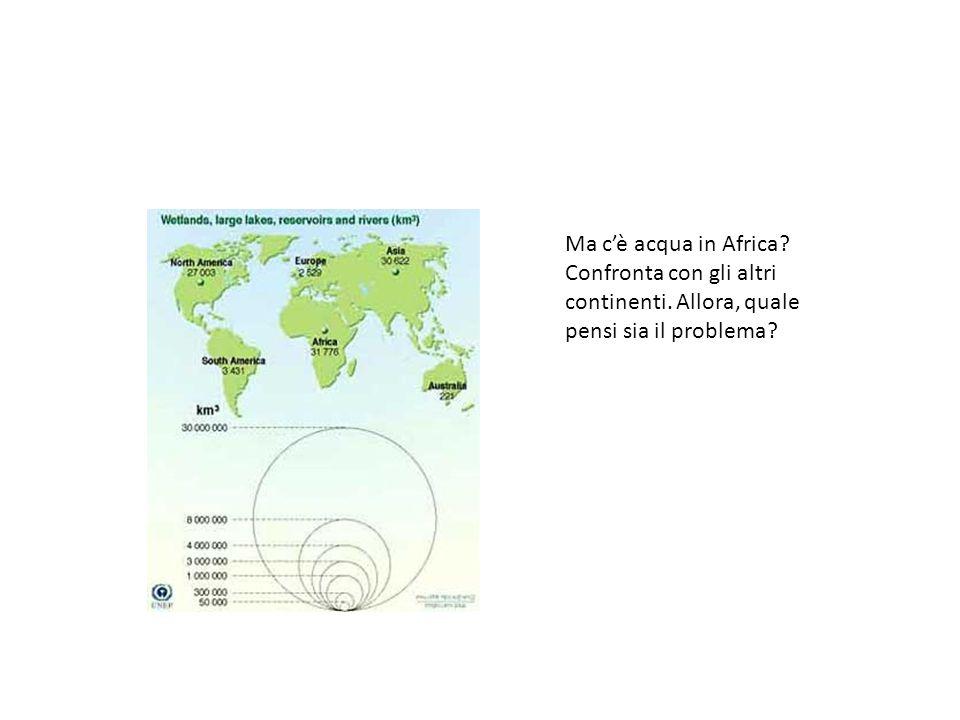 Ma c'è acqua in Africa Confronta con gli altri continenti. Allora, quale pensi sia il problema