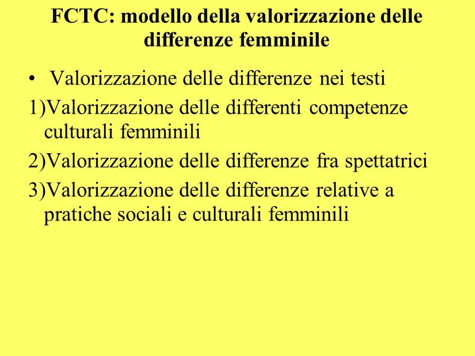 FCTC: modello della valorizzazione delle differenze femminile Valorizzazione delle differenze nei testi 1)Valorizzazione delle differenti competenze culturali femminili 2)Valorizzazione delle differenze fra spettatrici 3)Valorizzazione delle differenze relative a pratiche sociali e culturali femminili
