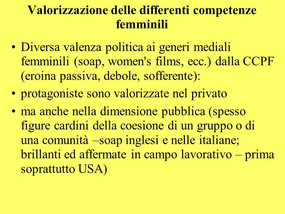 Valorizzazione delle differenti competenze femminili Diversa valenza politica ai generi mediali femminili (soap, women's films, ecc.) dalla CCPF (eroi