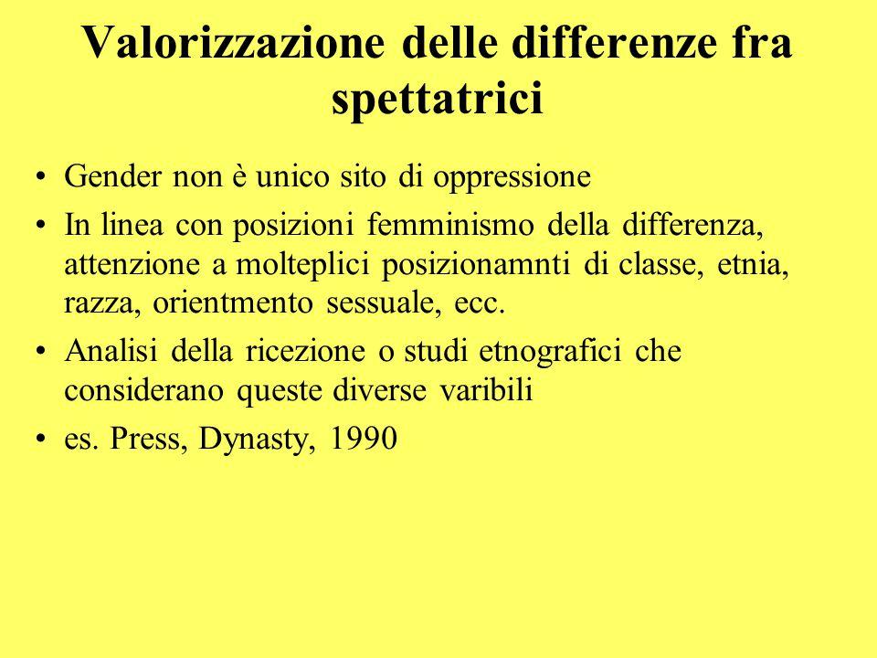 Valorizzazione delle differenze fra spettatrici Gender non è unico sito di oppressione In linea con posizioni femminismo della differenza, attenzione a molteplici posizionamnti di classe, etnia, razza, orientmento sessuale, ecc.