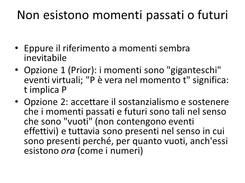Non esistono momenti passati o futuri Eppure il riferimento a momenti sembra inevitabile Opzione 1 (Prior): i momenti sono