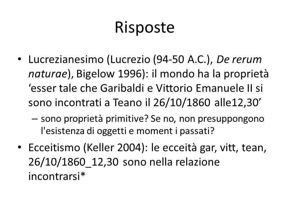 Risposte Lucrezianesimo (Lucrezio (94-50 A.C.), De rerum naturae), Bigelow 1996): il mondo ha la proprietà 'esser tale che Garibaldi e Vittorio Emanue