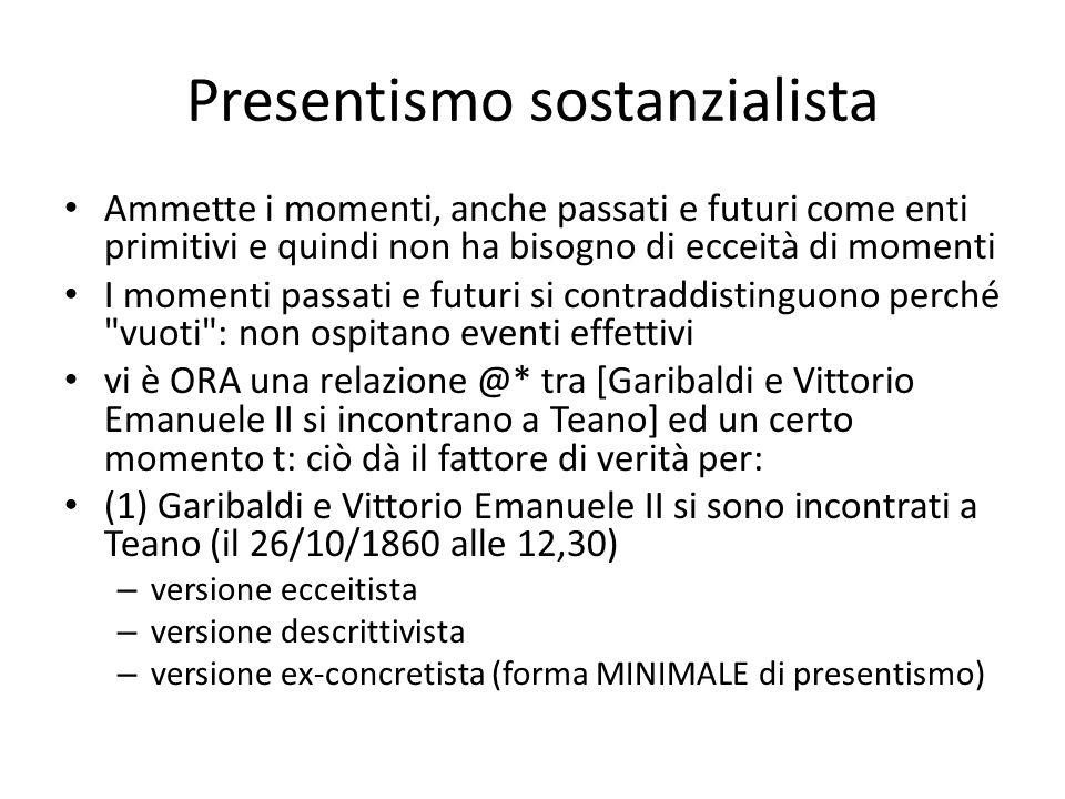 Presentismo sostanzialista Ammette i momenti, anche passati e futuri come enti primitivi e quindi non ha bisogno di ecceità di momenti I momenti passa