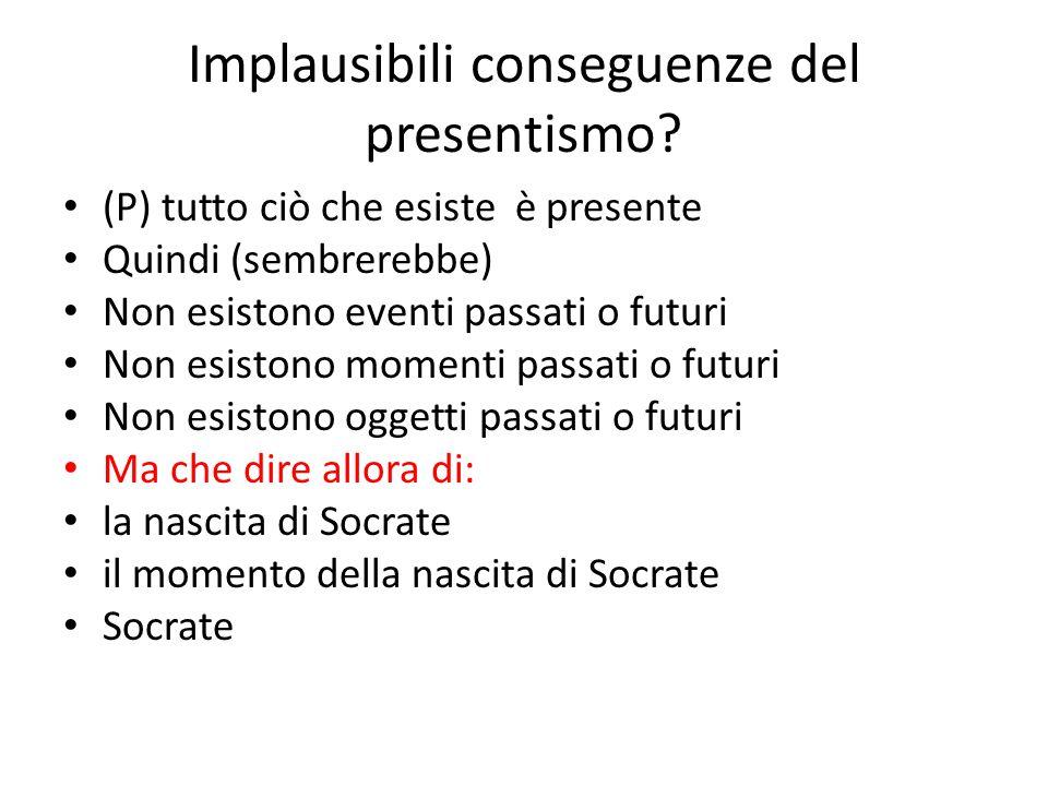 Implausibili conseguenze del presentismo? (P) tutto ciò che esiste è presente Quindi (sembrerebbe) Non esistono eventi passati o futuri Non esistono m