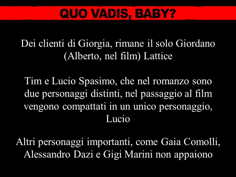 Altri personaggi importanti, come Gaia Comolli, Alessandro Dazi e Gigi Marini non appaiono Dei clienti di Giorgia, rimane il solo Giordano (Alberto, n