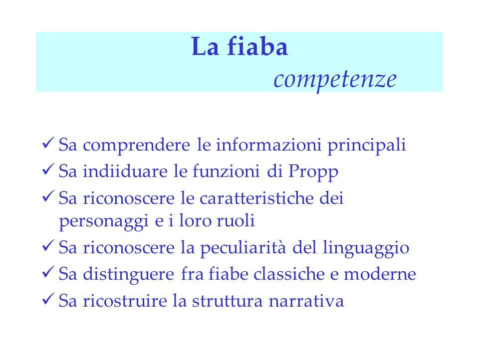 La fiaba competenze Sa comprendere le informazioni principali Sa indiiduare le funzioni di Propp Sa riconoscere le caratteristiche dei personaggi e i
