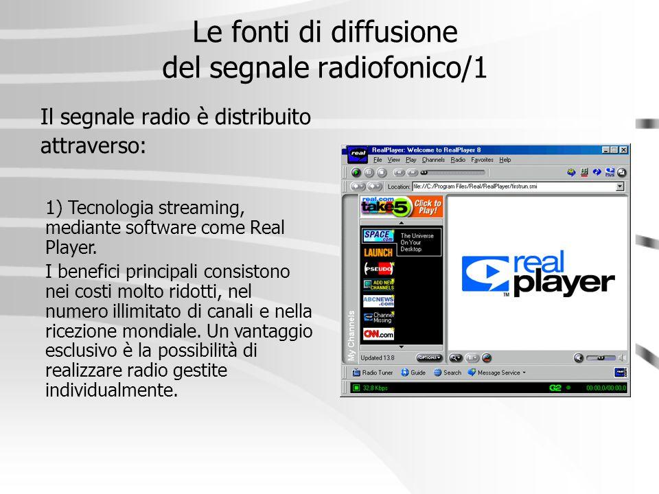 Le fonti di diffusione del segnale radiofonico/1 Il segnale radio è distribuito attraverso: 1) Tecnologia streaming, mediante software come Real Playe
