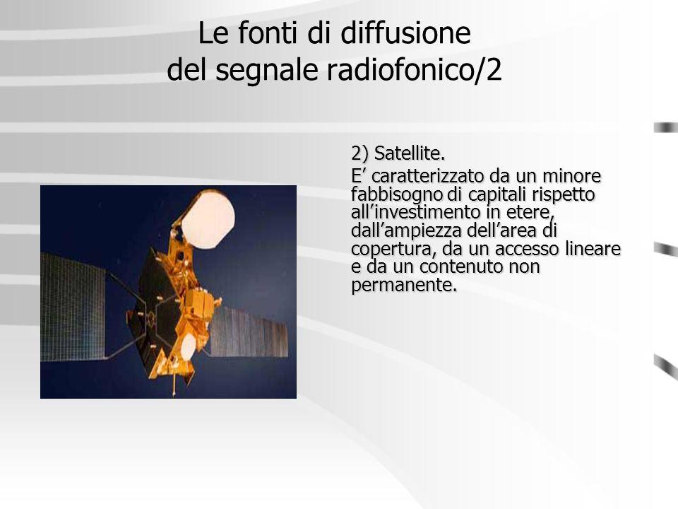 Le fonti di diffusione del segnale radiofonico/2 2) Satellite. E' caratterizzato da un minore fabbisogno di capitali rispetto all'investimento in eter