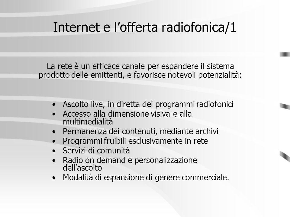 Internet e l'offerta radiofonica/1 Ascolto live, in diretta dei programmi radiofonici Accesso alla dimensione visiva e alla multimedialità Permanenza