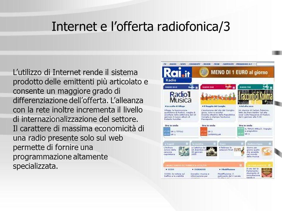 Internet e l'offerta radiofonica/3 L'utilizzo di Internet rende il sistema prodotto delle emittenti più articolato e consente un maggiore grado di dif