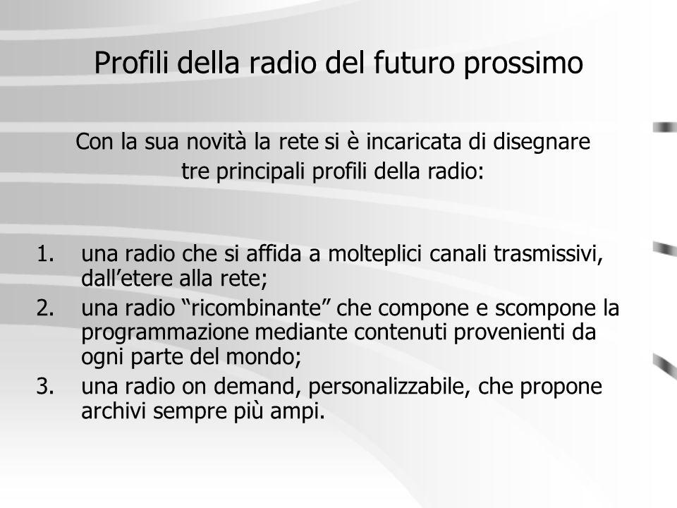 """Profili della radio del futuro prossimo 1.una radio che si affida a molteplici canali trasmissivi, dall'etere alla rete; 2.una radio """"ricombinante"""" ch"""