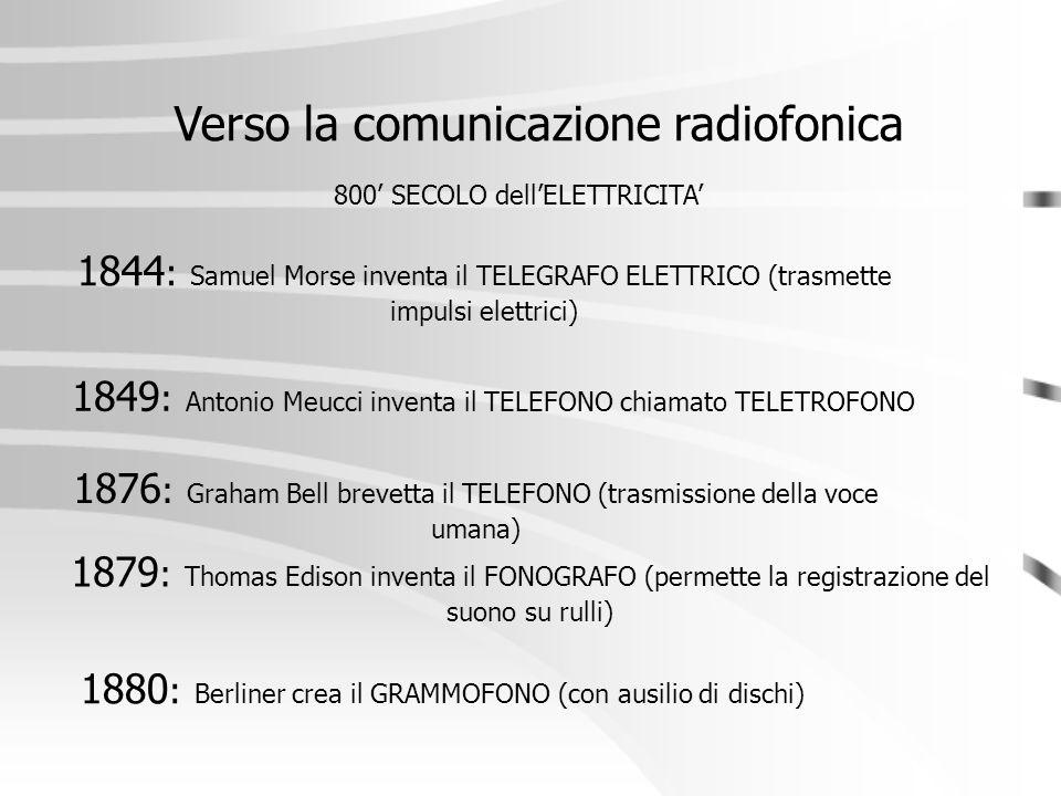 1844 : Samuel Morse inventa il TELEGRAFO ELETTRICO (trasmette impulsi elettrici) Verso la comunicazione radiofonica 800' SECOLO dell'ELETTRICITA' 1876