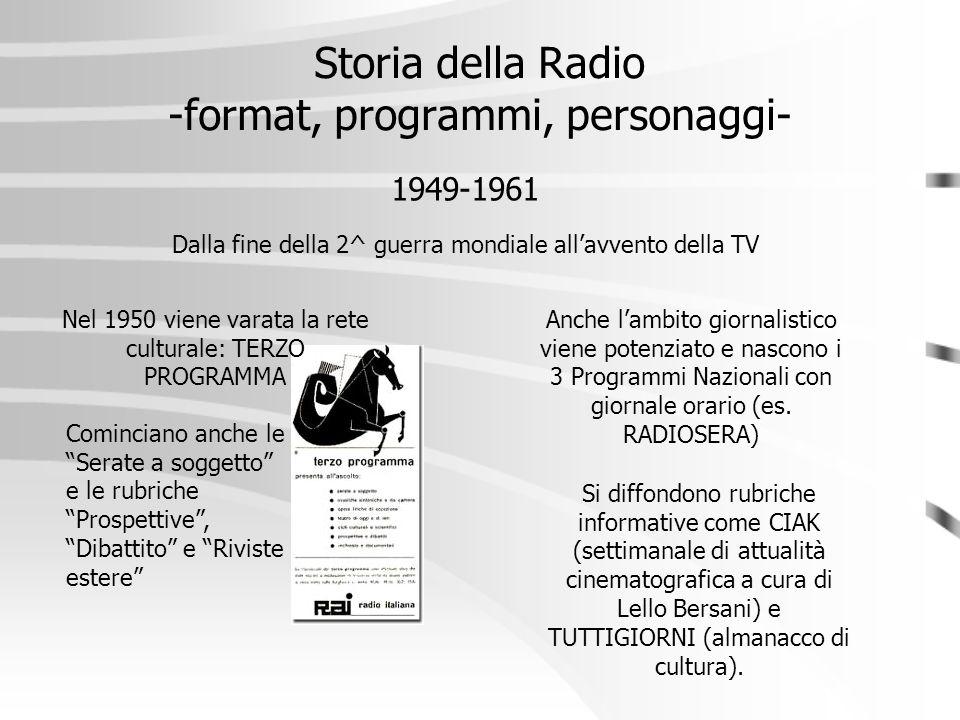 Storia della Radio -format, programmi, personaggi- 1949-1961 Nel 1950 viene varata la rete culturale: TERZO PROGRAMMA Dalla fine della 2^ guerra mondi