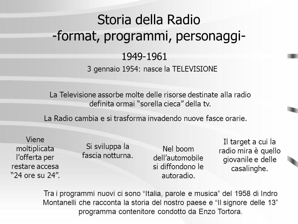 Storia della Radio -format, programmi, personaggi- 1949-1961 La Radio cambia e si trasforma invadendo nuove fasce orarie. 3 gennaio 1954: nasce la TEL