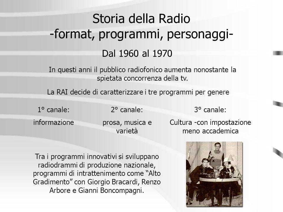 Storia della Radio -format, programmi, personaggi- Dal 1960 al 1970 La RAI decide di caratterizzare i tre programmi per genere 1° canale: informazione