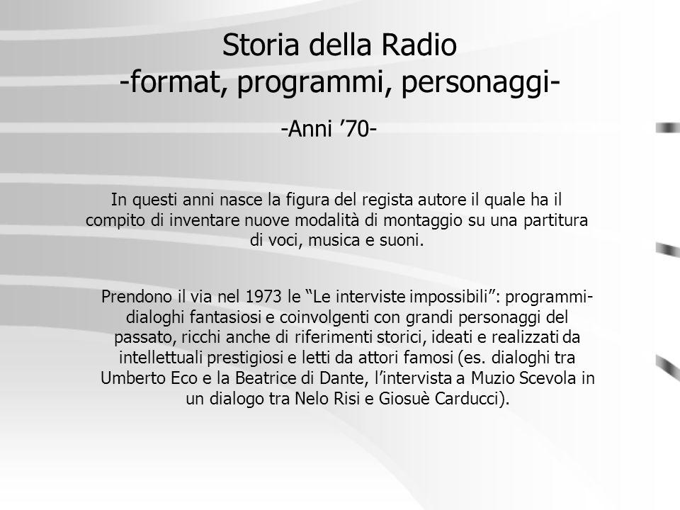 """Storia della Radio -format, programmi, personaggi- -Anni '70- Prendono il via nel 1973 le """"Le interviste impossibili"""": programmi- dialoghi fantasiosi"""