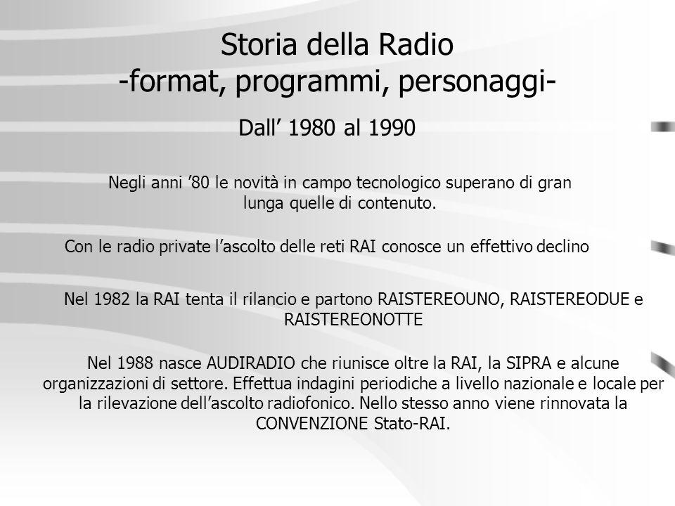 Storia della Radio -format, programmi, personaggi- Dall' 1980 al 1990 Con le radio private l'ascolto delle reti RAI conosce un effettivo declino Negli