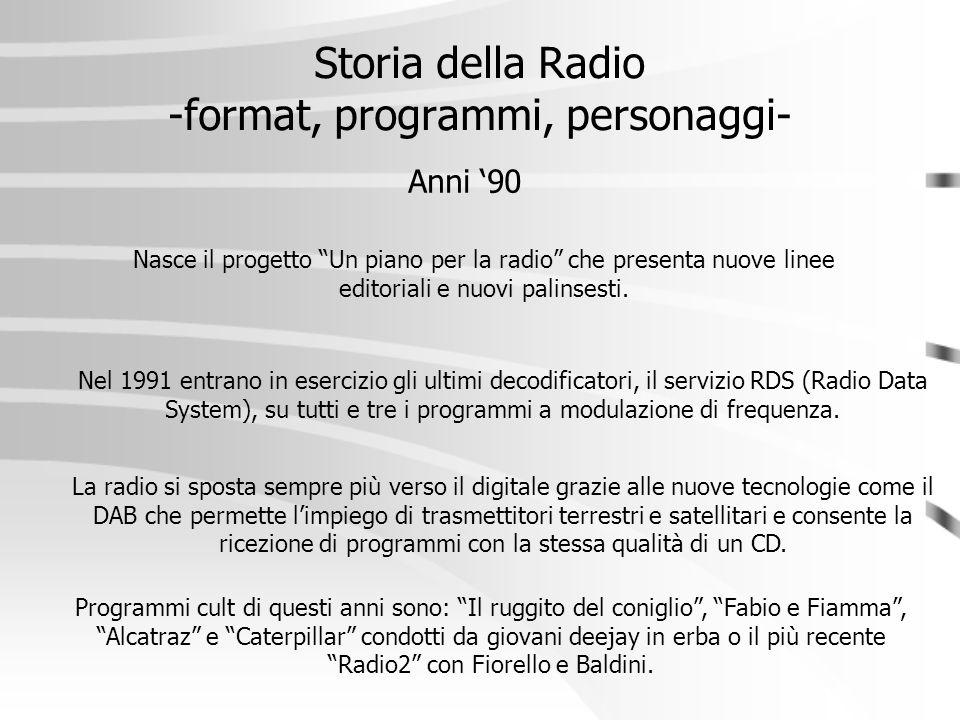 """Storia della Radio -format, programmi, personaggi- Anni '90 Nasce il progetto """"Un piano per la radio"""" che presenta nuove linee editoriali e nuovi pali"""