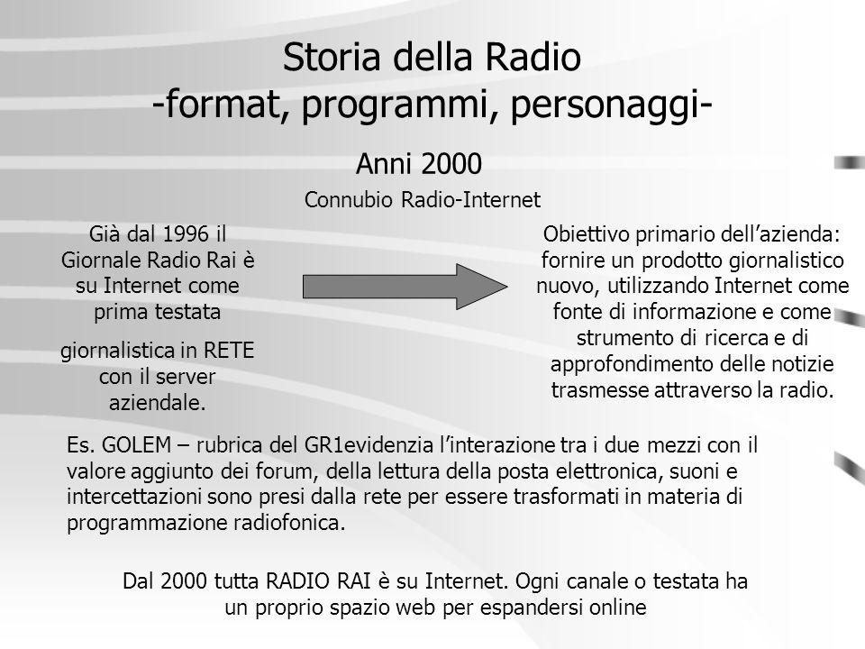 Storia della Radio -format, programmi, personaggi- Anni 2000 Connubio Radio-Internet Già dal 1996 il Giornale Radio Rai è su Internet come prima testa
