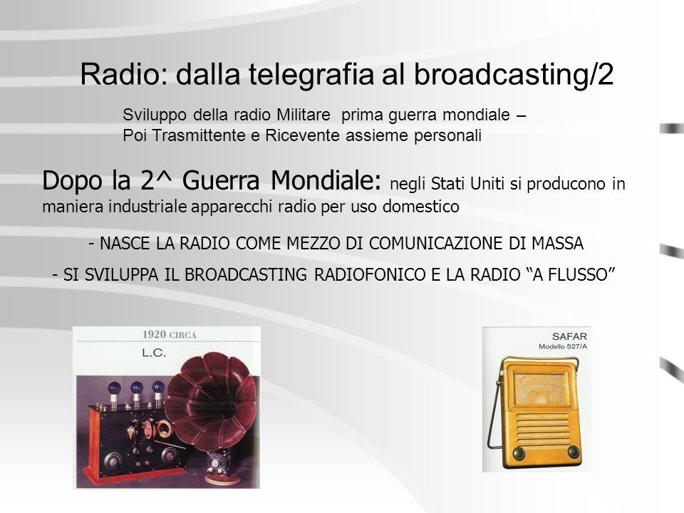 Radio: dalla telegrafia al broadcasting/2 Dopo la 2^ Guerra Mondiale: negli Stati Uniti si producono in maniera industriale apparecchi radio per uso d
