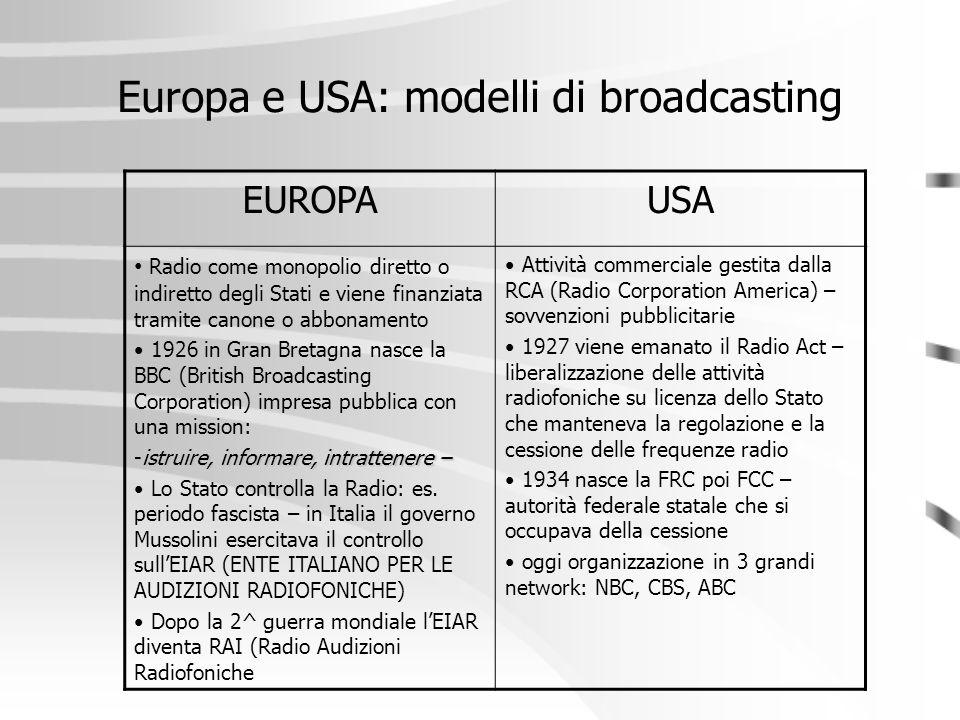 Europa e USA: modelli di broadcasting EUROPAUSA Radio come monopolio diretto o indiretto degli Stati e viene finanziata tramite canone o abbonamento 1