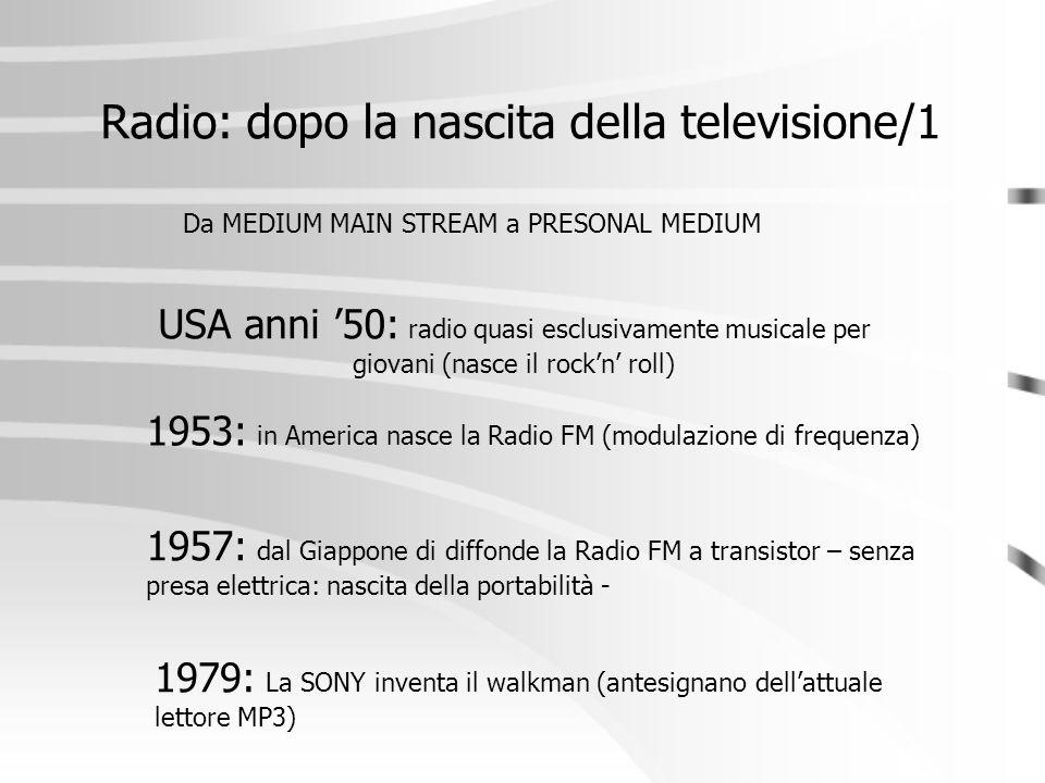 Radio: dopo la nascita della televisione/1 Da MEDIUM MAIN STREAM a PRESONAL MEDIUM USA anni '50: radio quasi esclusivamente musicale per giovani (nasc