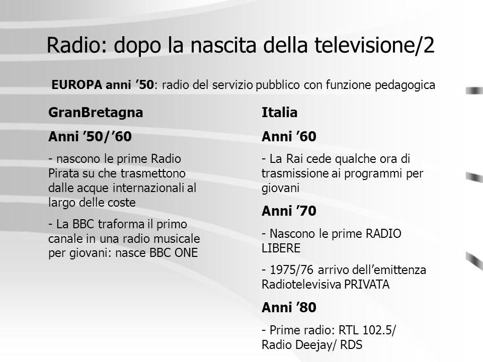 Radio: dopo la nascita della televisione/2 EUROPA anni '50: radio del servizio pubblico con funzione pedagogica GranBretagna Anni '50/'60 - nascono le