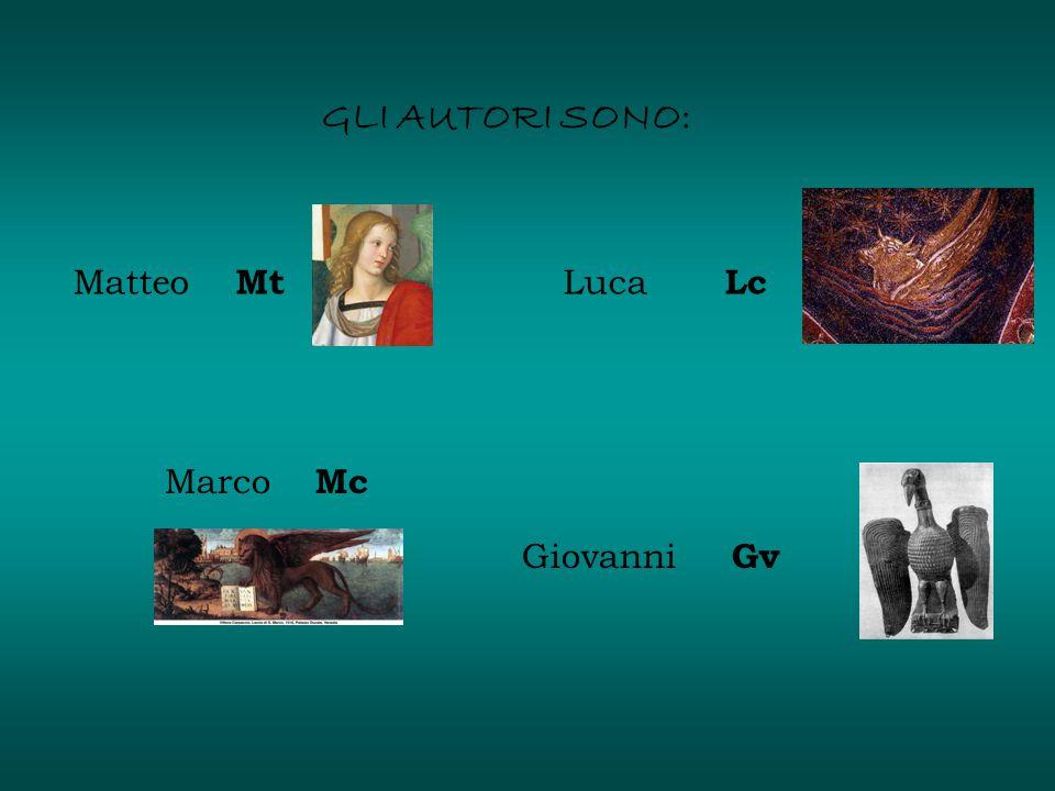 GLI AUTORI SONO: Matteo Mt Marco Mc Luca Lc Giovanni Gv