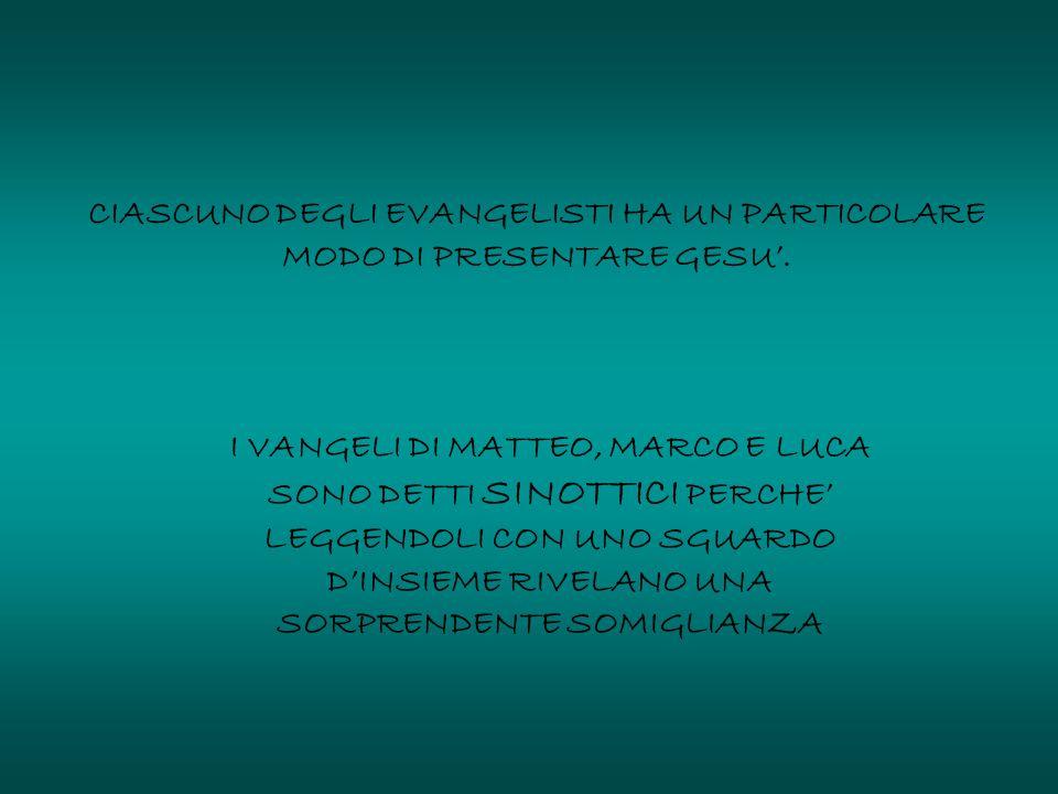 CIASCUNO DEGLI EVANGELISTI HA UN PARTICOLARE MODO DI PRESENTARE GESU'. I VANGELI DI MATTEO, MARCO E LUCA SONO DETTI SINOTTICI PERCHE' LEGGENDOLI CON U