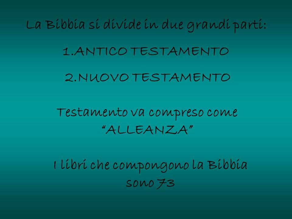 """La Bibbia si divide in due grandi parti: 1.ANTICO TESTAMENTO 2.NUOVO TESTAMENTO Testamento va compreso come """"ALLEANZA"""" I libri che compongono la Bibbi"""