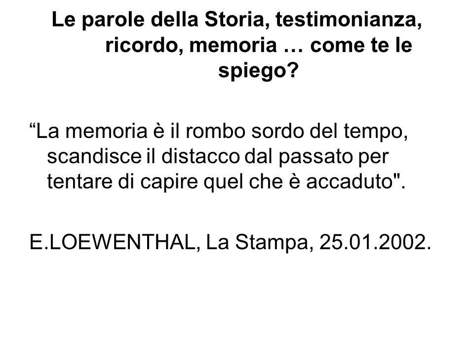 """Le parole della Storia, testimonianza, ricordo, memoria … come te le spiego? """"La memoria è il rombo sordo del tempo, scandisce il distacco dal passato"""